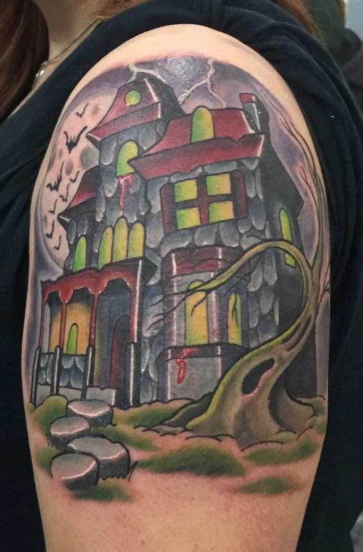25 Traditional Haunted House Tattoo