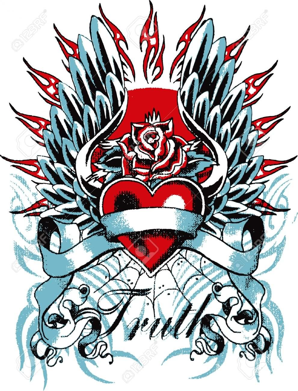 Heart With Rose Tattoos Design