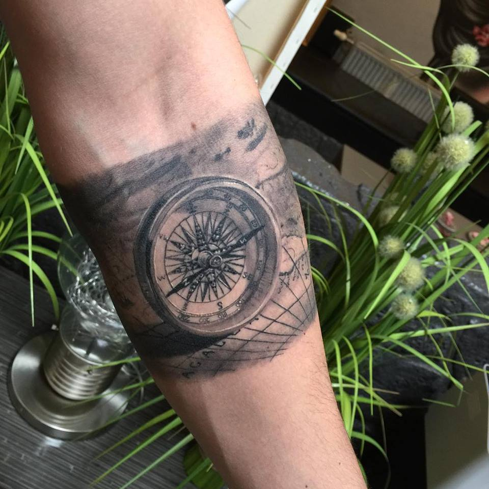 Inner Arm Compass Tattoos For Men