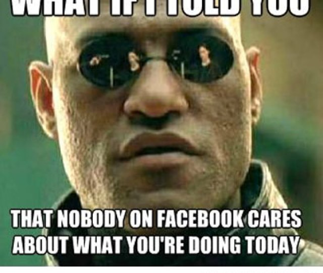 Funny Meme For Facebook Comment That Nobody On Facebook Cares About You Are Doing Today Image