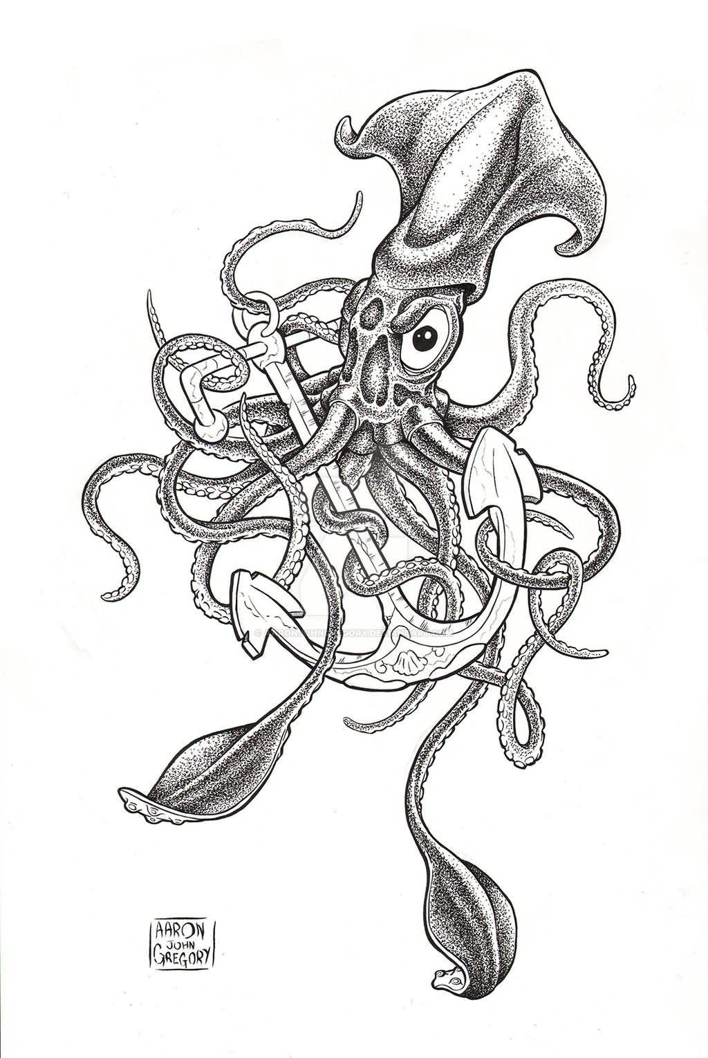 Giant Squid Sinking Ship Tattoo Design By Johanna