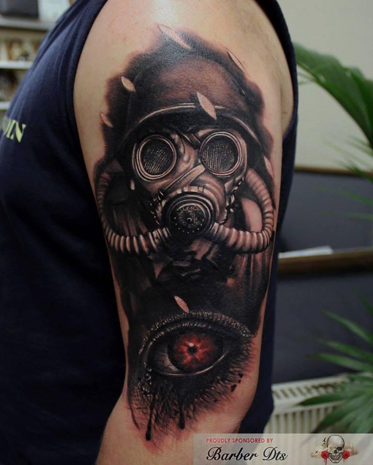 Steampung Girl Holding Skull Wallpaper Full Sleeve Gas Mask Tattoo For Men