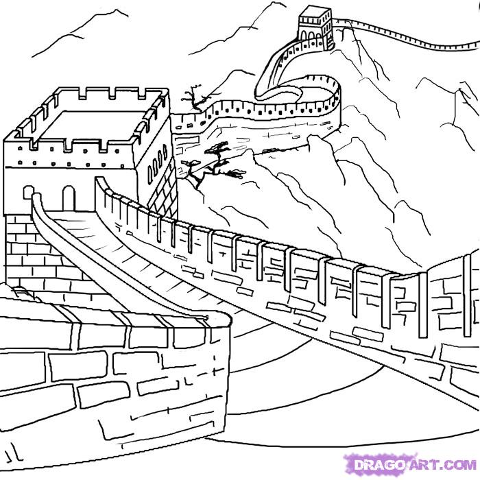 Black Outline Great Wall Of China Tattoo Stencil