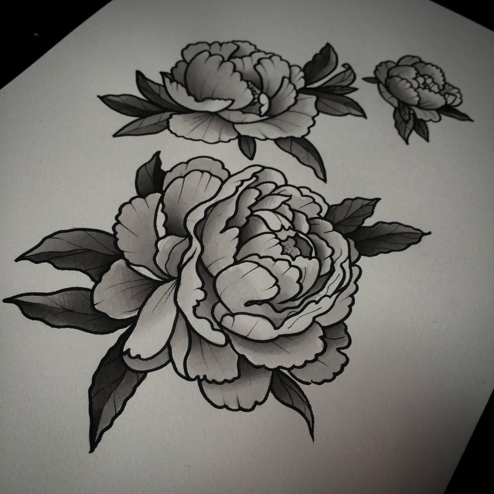Peony Flower Tattoo Design