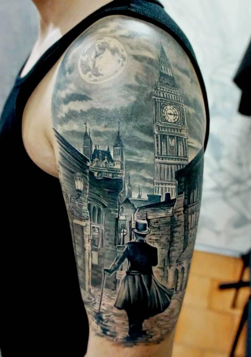 Big Ben London Tattoo On Man Left Half Sleeve