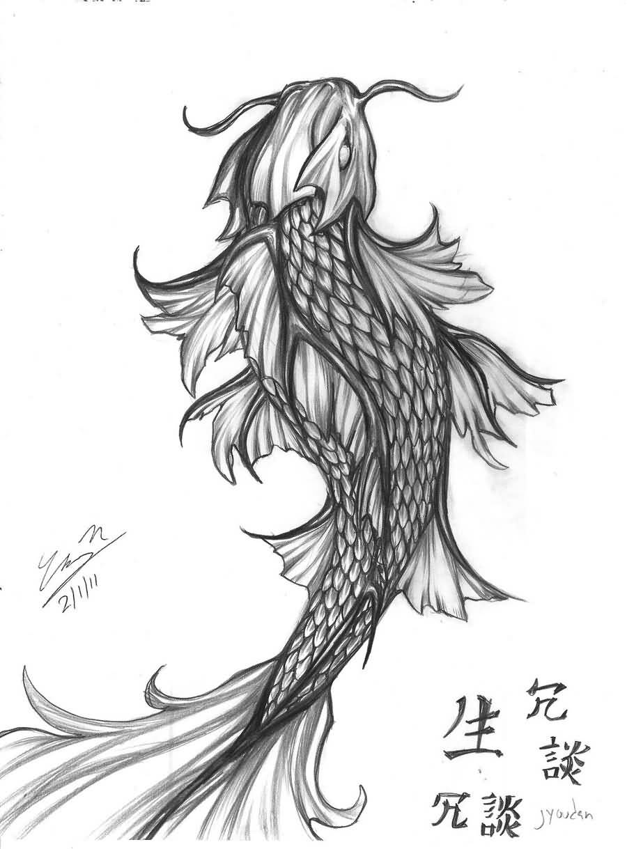 Koi Fish Tattoo Forearm Drawing