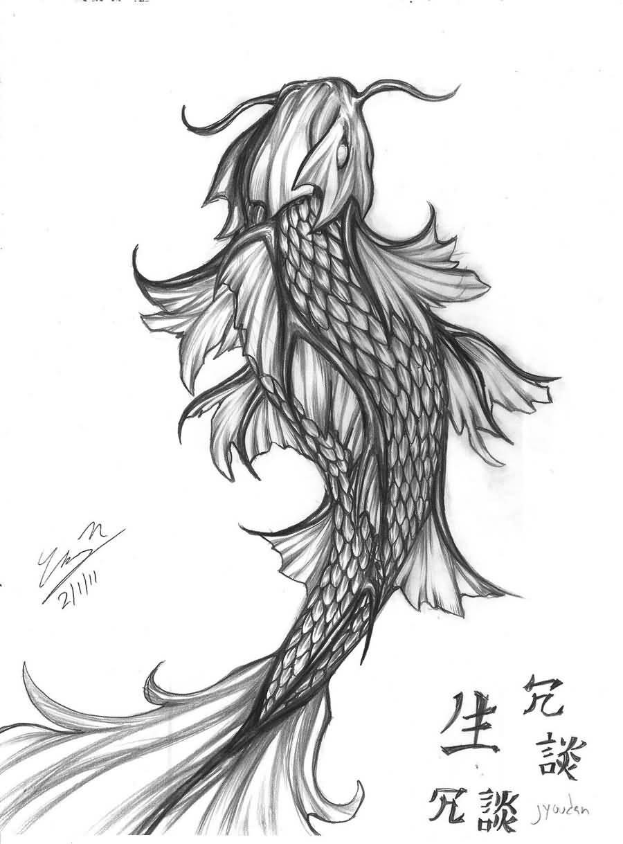 Koi Fish Tattoo Forearm Drawing
