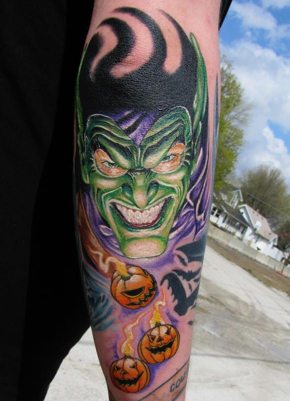 Pupkins And Goblin Tattoo On Arm Sleeve