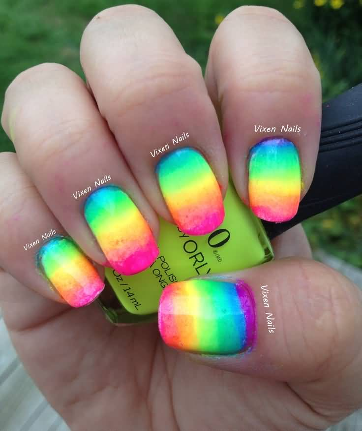 17+ Adorable Rainbow Ombre Nail Art Design Ideas