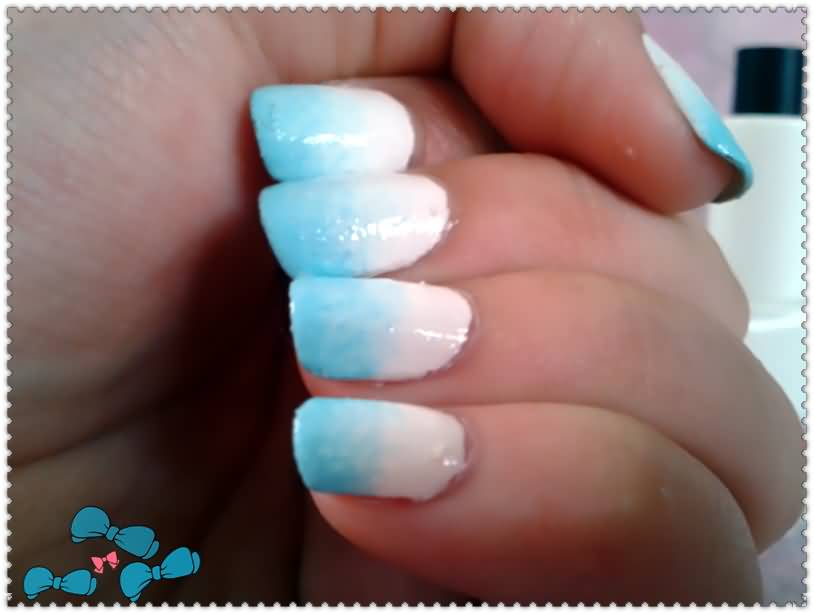 Blue And White Ombre Nail Art Design Ideas