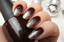 Brown with Ombre Glitter Nails