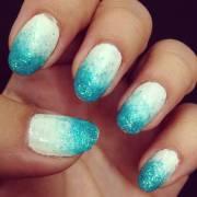 blue ombre nail art design
