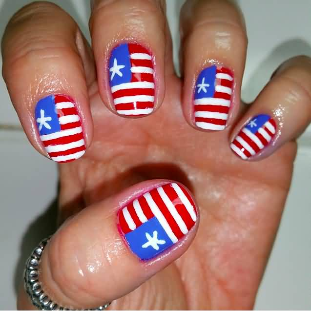American Flag Nail Art Design For Fourth Of July