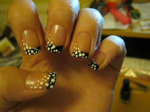 Black French Tip Nail Art With White Polka Dots Design