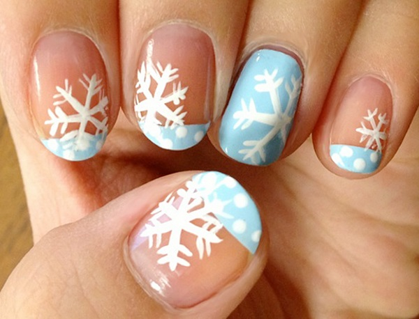 Blue And White Polka Dots French Tip Nail Art With Snow Flakes