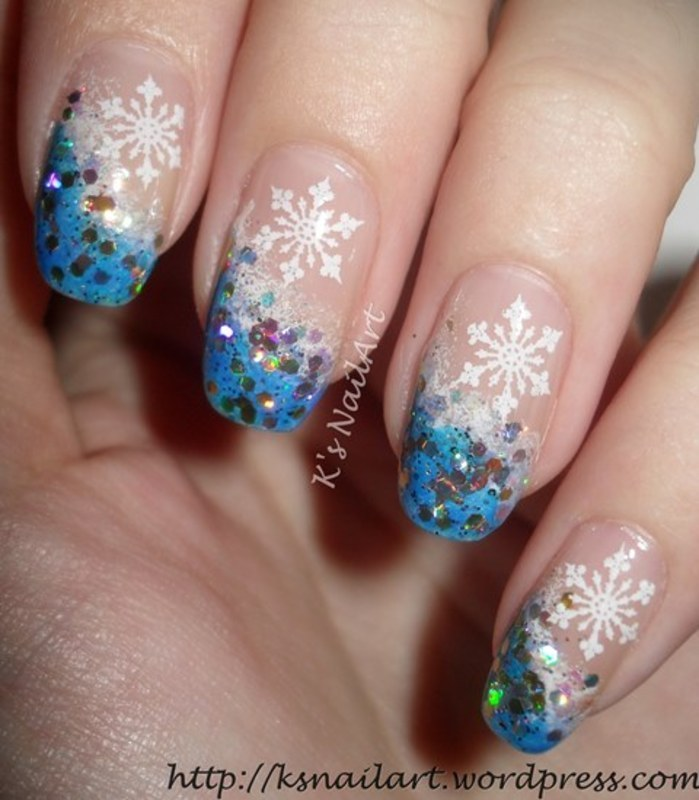 Blue Glitter And Snowflakes Design French Tip Nail Art