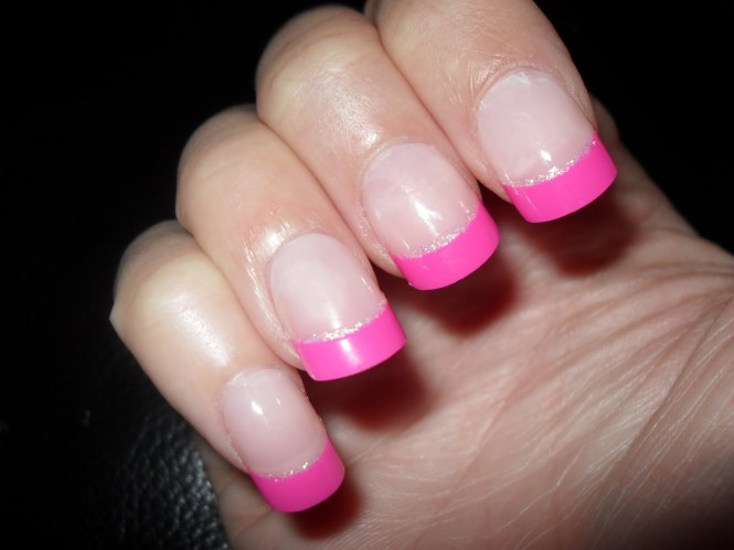 Acrylic Pink French Tip Nails With White Polka Dots And 3d Flower Design