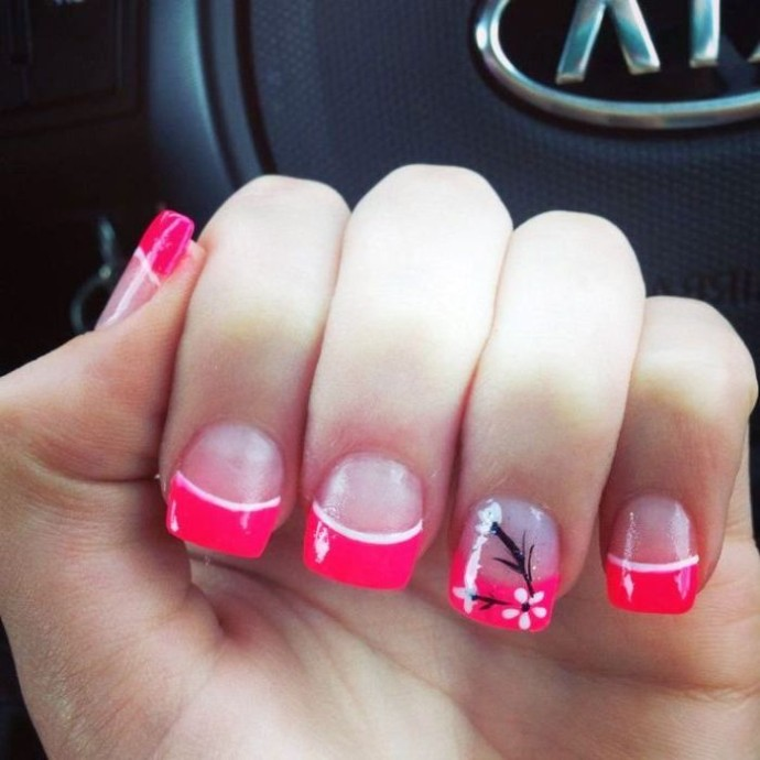 Pink French Tip Nail Design With Accent Flower