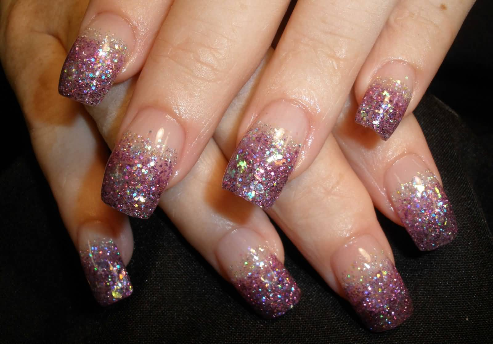 Purple Glitter French Tip Nail Art