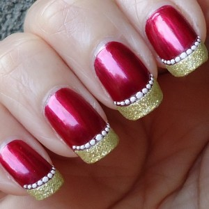 Red Nails With Gold Glitter French Tip Nail Art