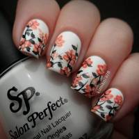 White And Orange Spring Flowers Nail Art