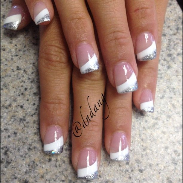 White And Silver Glitter French Tip Nail Design
