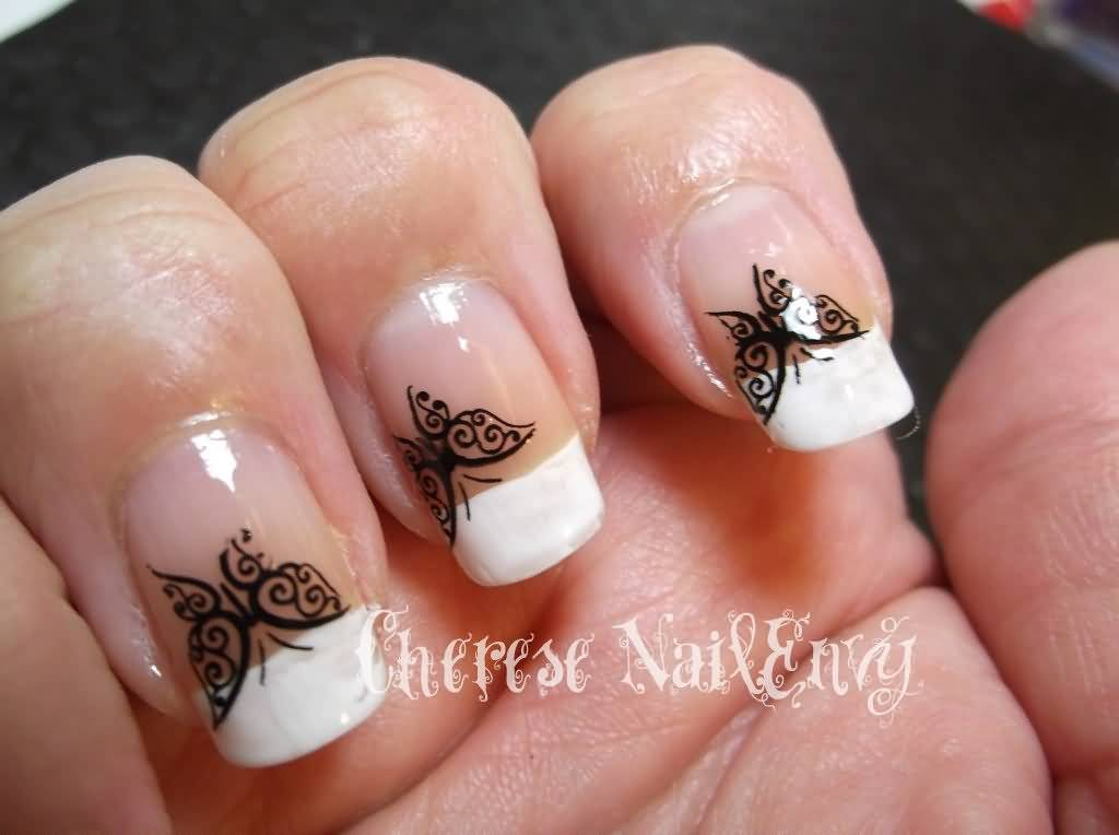 White French Tip Nail Art With Black Erfly Design