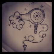 4 blow dryer tattoo design