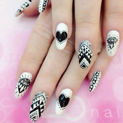 Black And White Acrylic Tribal Design Nail Art