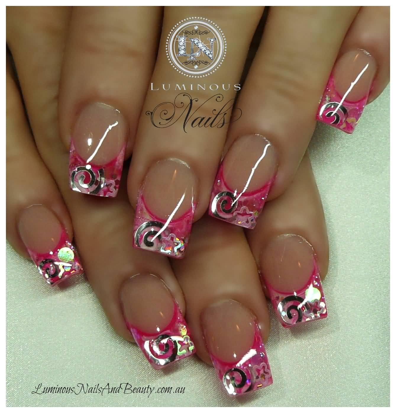 Pink Glitter Acrylic Nail Design Ideas