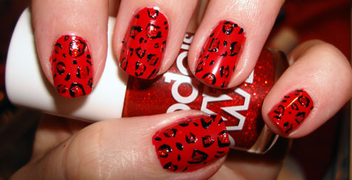 Red And Black Leopard Print Nail Art