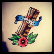 simple hair comb tattoo