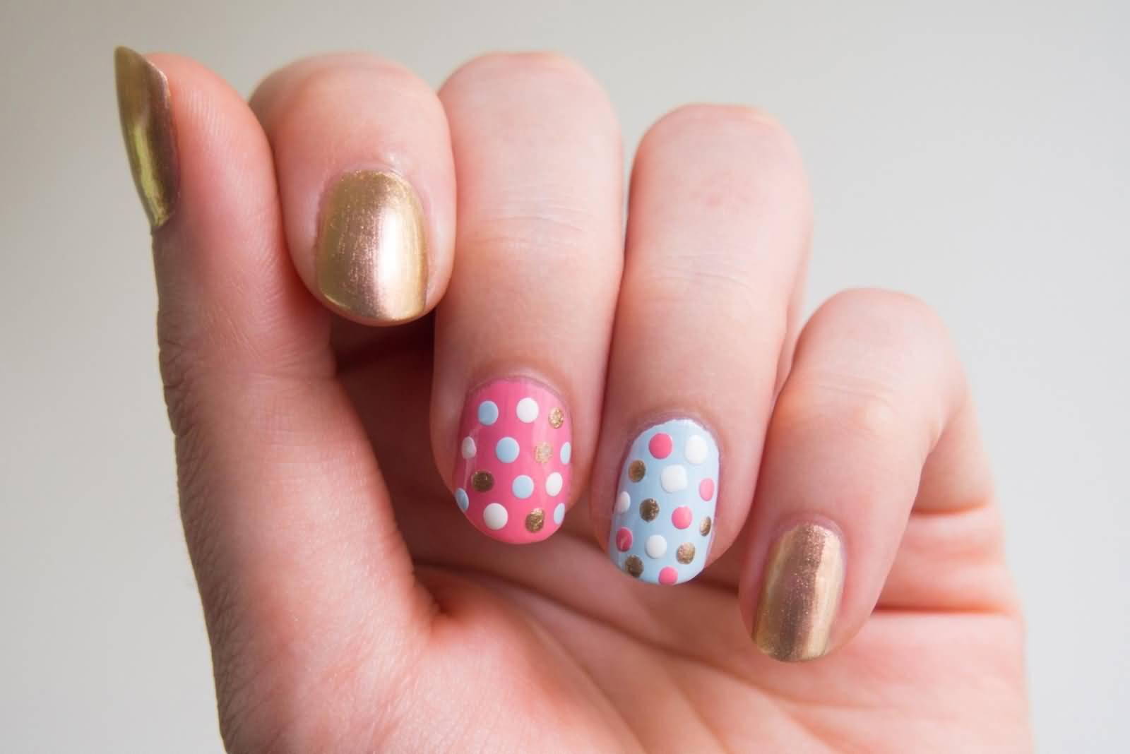 Beautiful Polka Dots Nail Design Idea For Short Nails