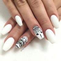 Black And White Matte Yin Yang Short Nail Art