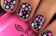beautiful pink polka dots nail
