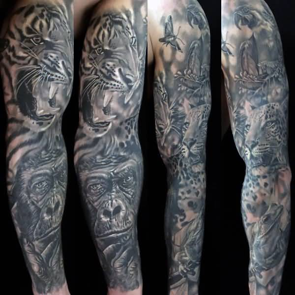 Native American And Dark Forest Tattoo On Full Leg