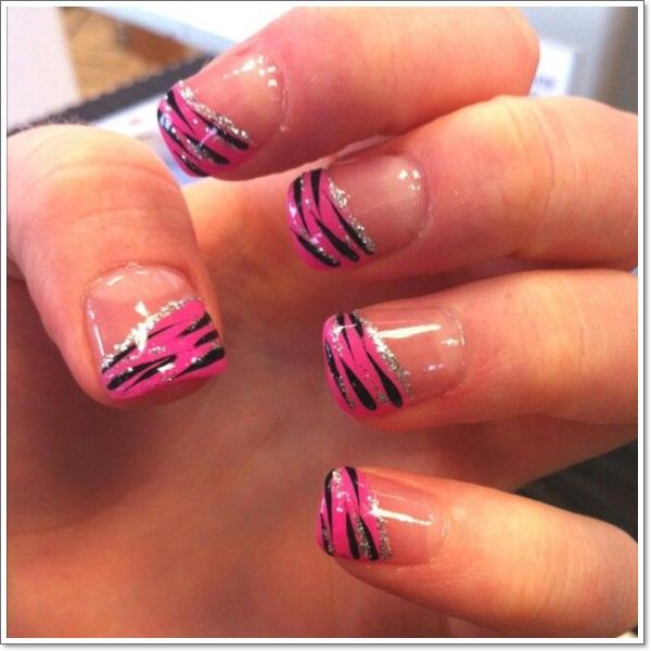 Glossy Pink French Tip Zebra Print Nail Art