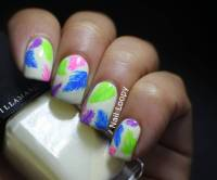 Neon Feathers Nail Design