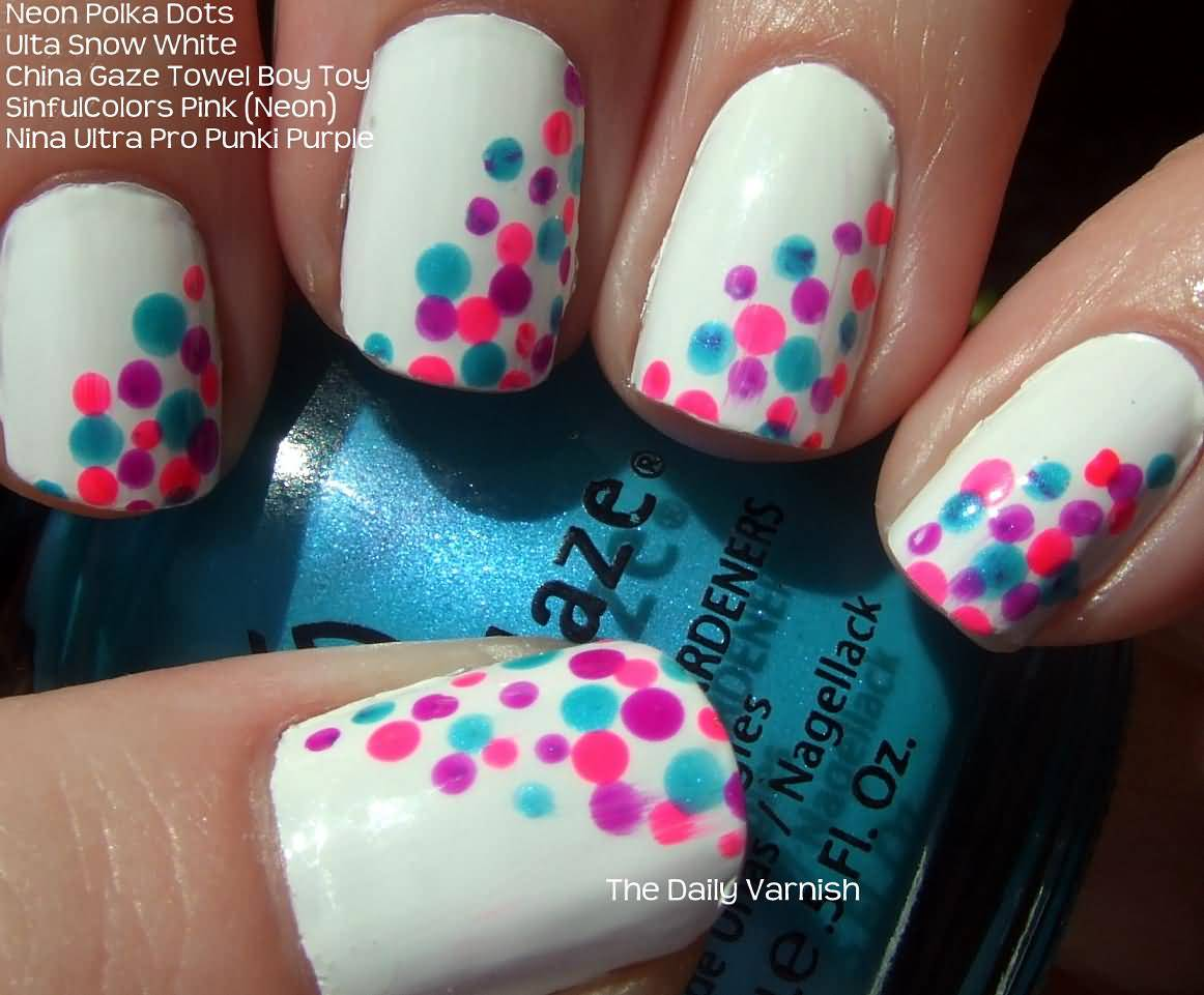 Pink And Green Polka Dots On White Nails