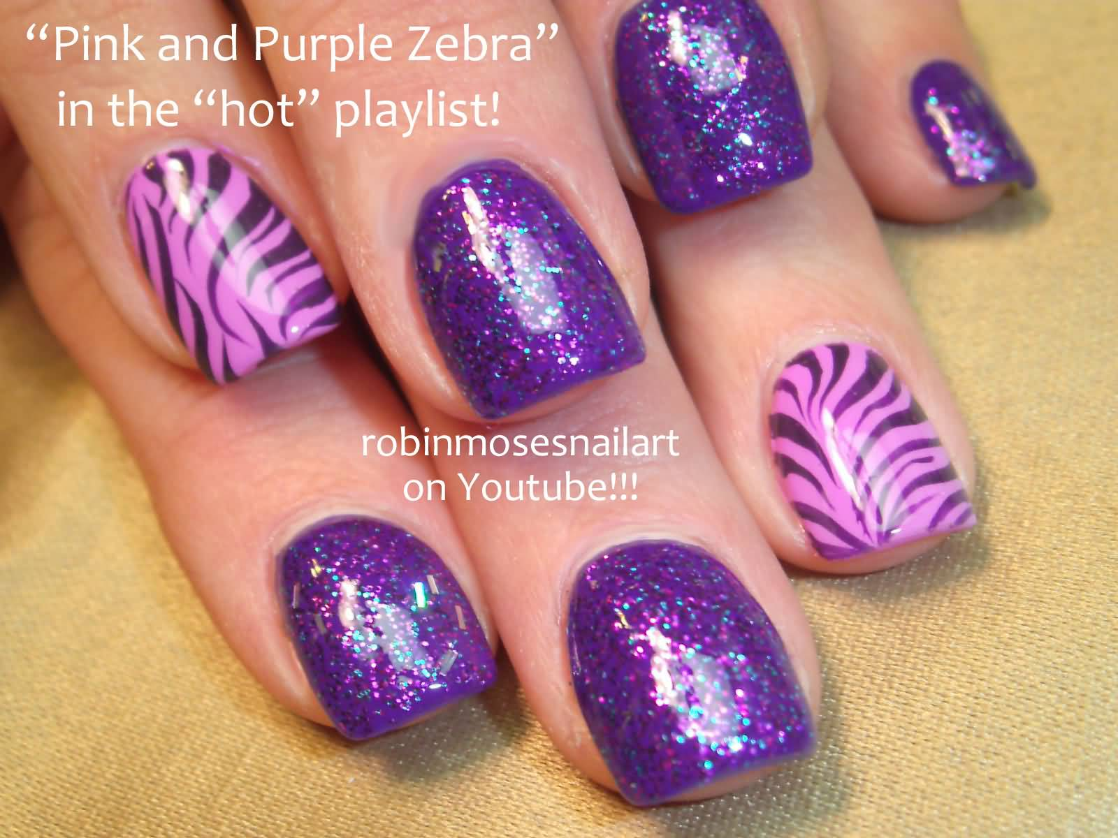 Pink And Purple Glitter Zebra Print Nail Art