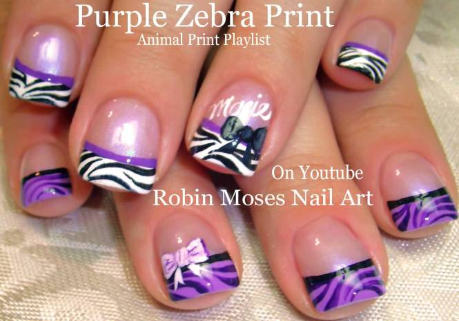 Purple Flower Nail Art With Glitter French Tip