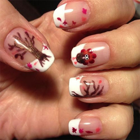 White Tip Nails With Turkey And Fallen Leaves Trees Thanksgiving Nail Art