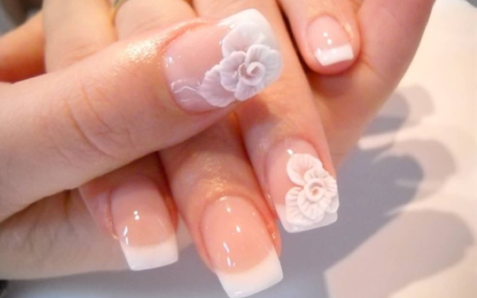 55 Cool Wedding Nail Art Design Ideas White French Tip