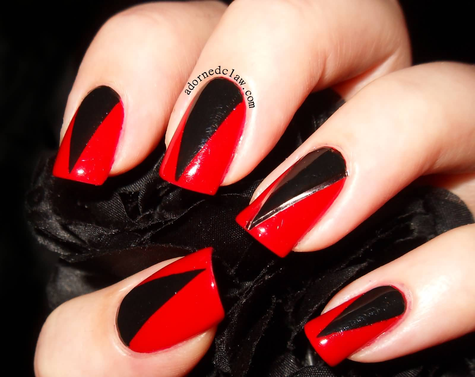 Black And Red Nail Art Design Idea
