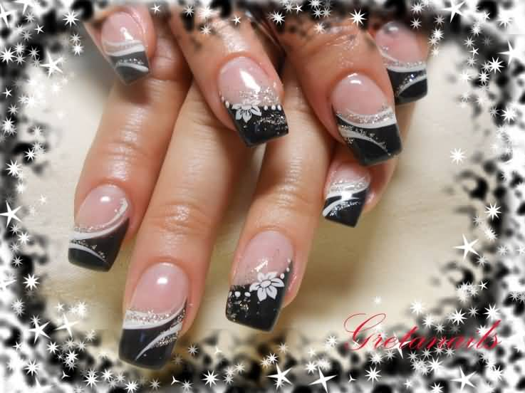 Black And White Stripes French Tip Nail Art