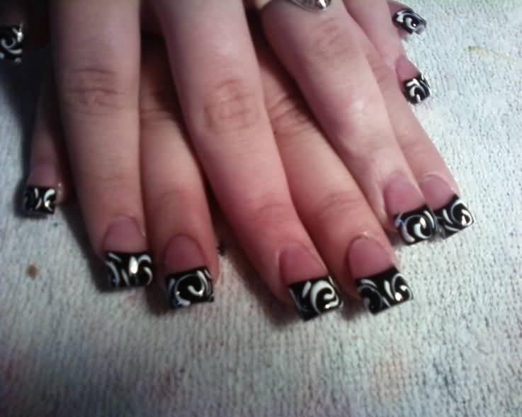 Black And White Swirls Design French Tip Nail Art