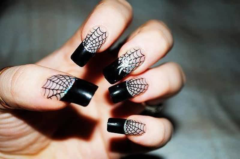 Black French Tip And Spiderweb Nail Art