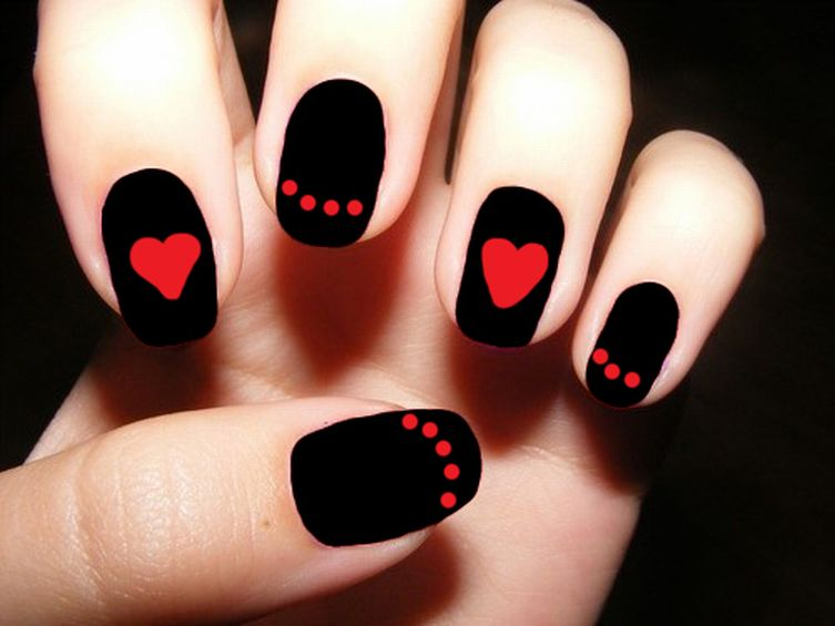 Black Matte Nails With Red Dots And Heart Design Nail Art