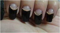 Black And White Reverse French Tip Nail Art
