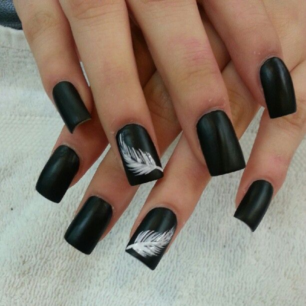 Black Nails With White Feather Nail Art Design Idea